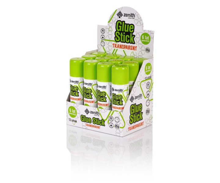 Glue stick Zenith transparent 25 grams - display case with 12 pieces