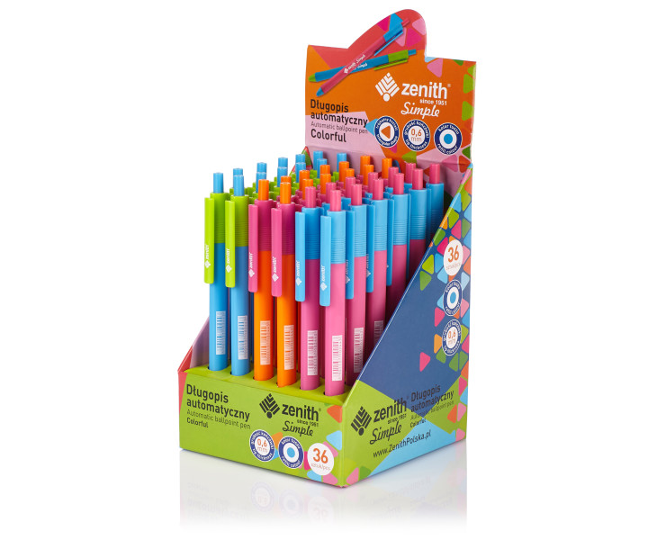 Triangular ballpoint pen Zenith Simple Colorful - display case with 36 pens